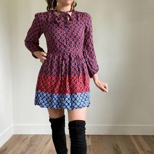 GAP Petite Long Sleeve Patterned Dress